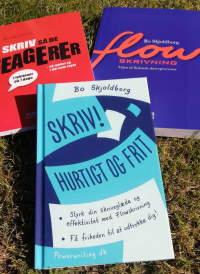 Skrivebog, skrivebøger af Bo Skjoldborg. Tre gode bøger om at skrive bedre. Skriv konkret, enkelt og nærværende. Flowskrivning. Skriv bedre e-mails